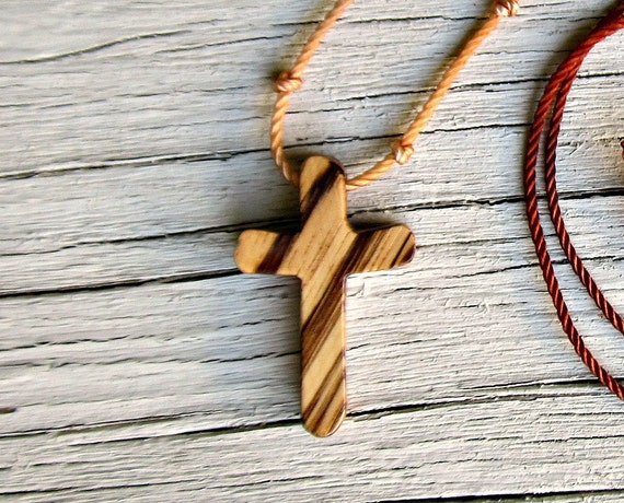 Wood Cross Necklace - Rustic African Zebrawood - Necklaces for Men