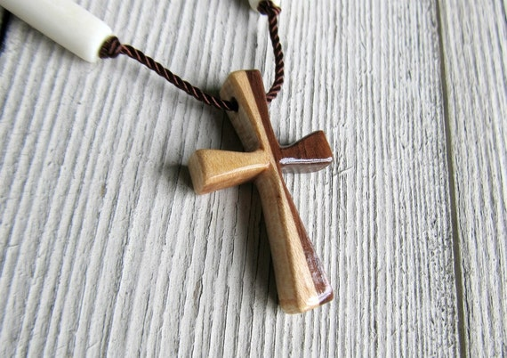 Mens Cross Pendant - Walnut & Maple  Hardwoods - Necklaces for Men