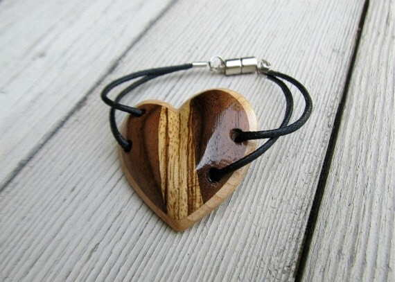 Bracelet  - Rustic Hand Carved Heart - Women's Jewelry - FREE USA SHIPPING