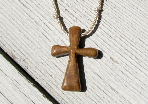 Wood Cross Pendant - Oregon Myrtle Wood - Jewelry for Men
