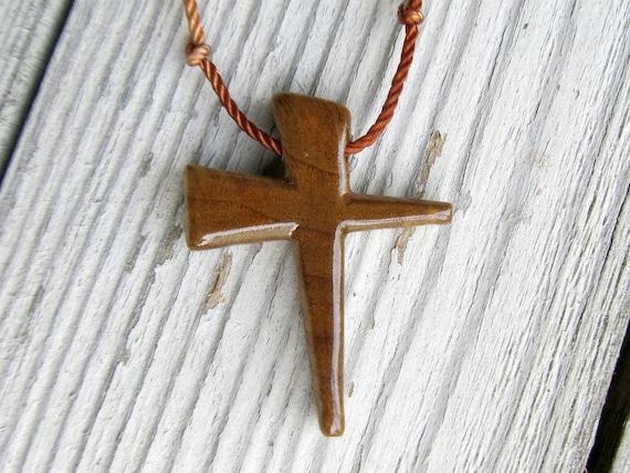 Wood Cross Jewelry - Oregon Myrtle Wood - Men's Necklaces