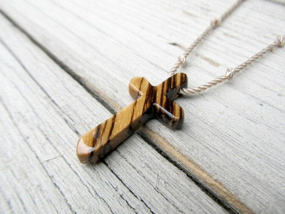 Wood Cross Necklace - African Zebrawood - Mens Jewelry