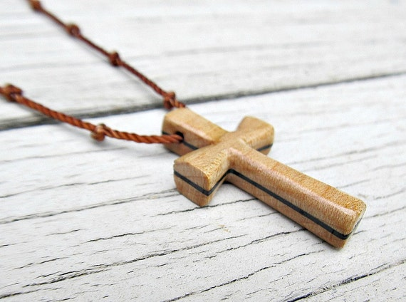 Wooden Cross Necklace - Maple & African Wenge