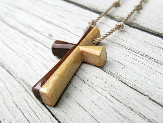 Mens Cross Pendant - Walnut & Maple - Necklaces for Men
