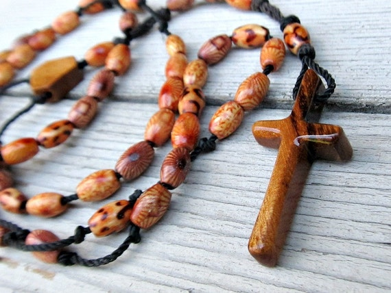 Catholic - Prayer - Rosary - Hand Carved - Rustic - Brazilian Tigerwood Cross