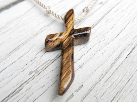 Rustic Hand Carved Cross - Exotic African Zebrawood - Mens Jewelry