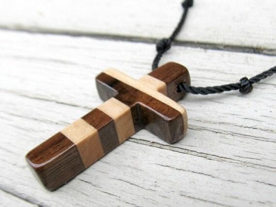 Wood Cross Necklace - Walnut and Maple Hardwoods - Mens Jewelry