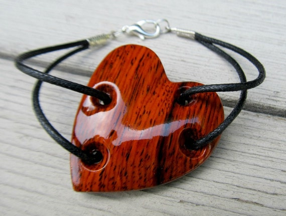 Handcrafted Heart Bracelet - Mexican Cocobolo Wood