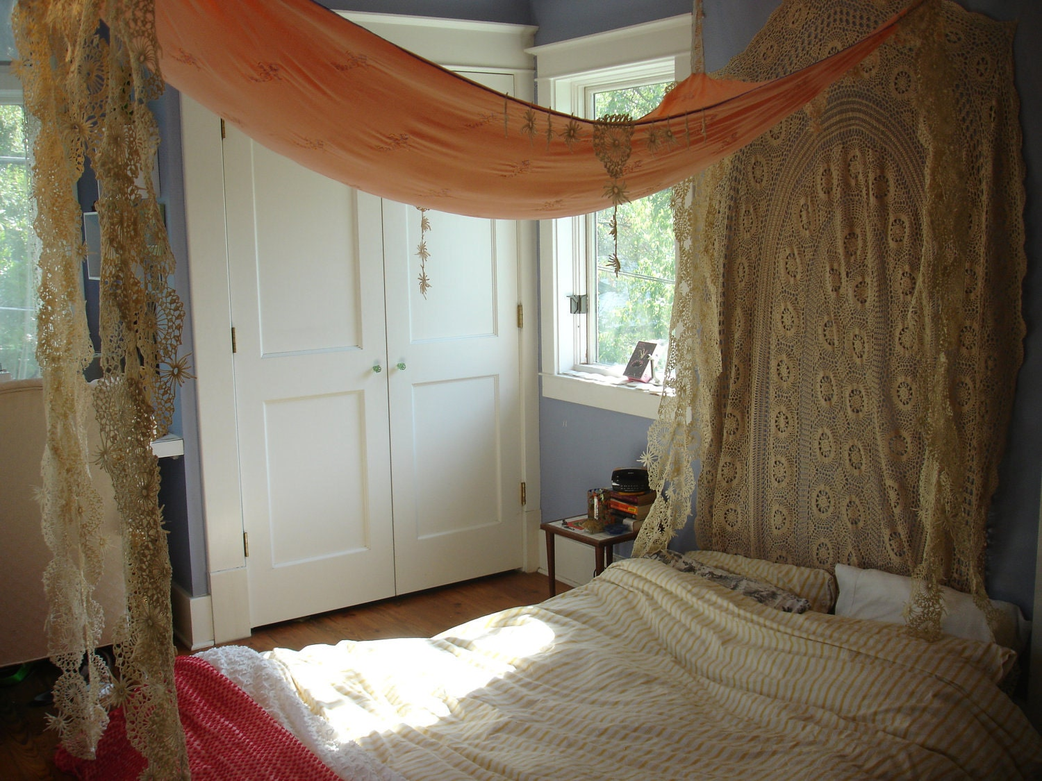 One of a kind handmade vintage fabric bed canopy for One of a kind beds