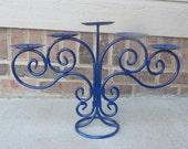 Glossy Blue Vintage  Candelabra