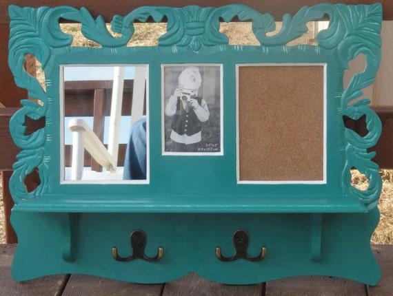 Cottage Style Decorative Aqua Green Wall Shelf Bulletin Board Picture Frame Mirror