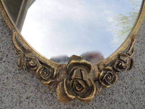 Vintage Rose Gold Vanity Tray Mirror