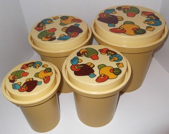 Vintage Canister Set 1970's Rubbermaid Kitchen Canister Set Of Four Mushroom Lids