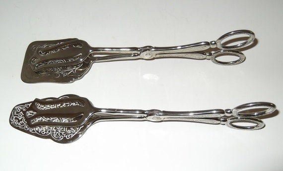 Vintage Silverplate Tongs, two