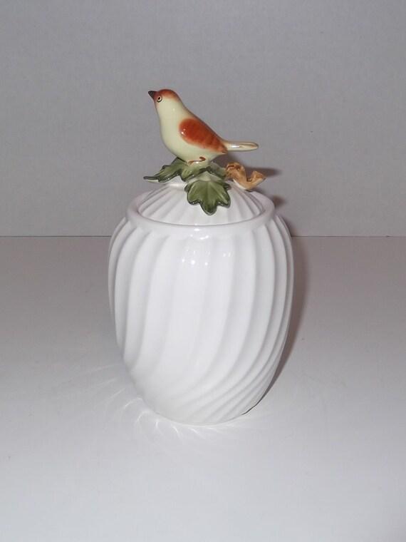 Fitz & Floyd Ceramic Jar with Bird Lid