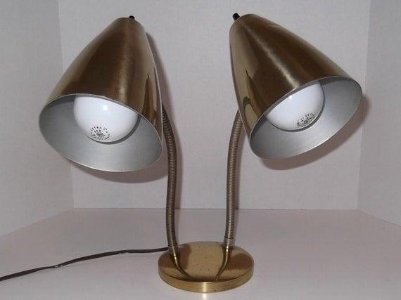 Double Gooseneck Desk Lamp /  Brass Finish / Vintage Office / Desk Lamp / Student Lamp
