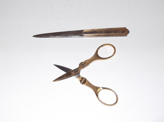 Vintage Letter Opener and Folding Scissors