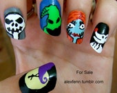 Nightmare before christmas slanted fake nails