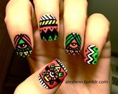 Neon aztec eye fake nails