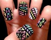 Aztec/tribal fake nails
