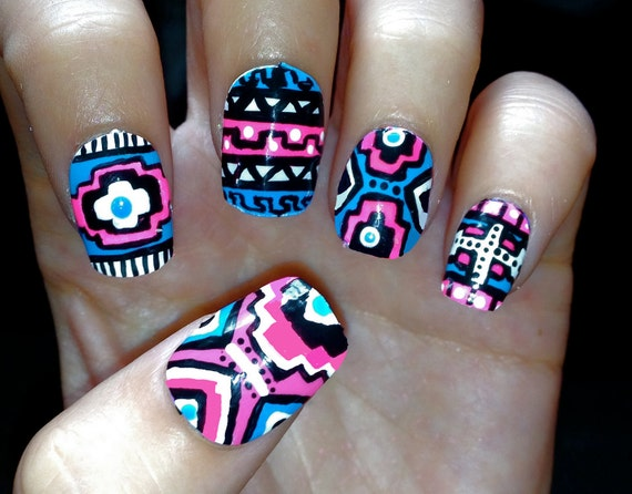 Blue And Pink Neon Aztec Tribal Fake Nails