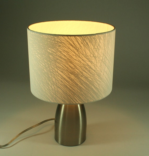 FREE SHIPPING: Texture Fabric Lamp, White on White With Cone Silver Metal Base
