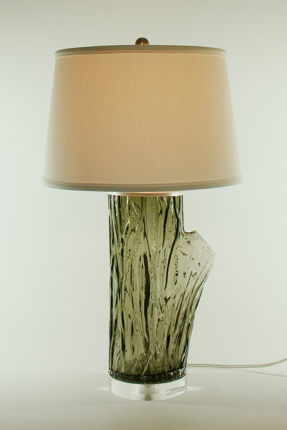 Smoke Colored Glass Tree Trunk Lamp - Base only