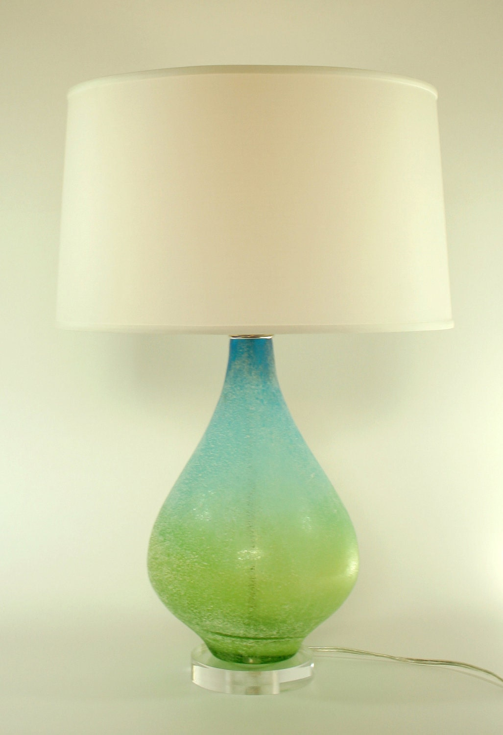 blue green glass lamp with 16 silk shade by lovinglighting on etsy. Black Bedroom Furniture Sets. Home Design Ideas