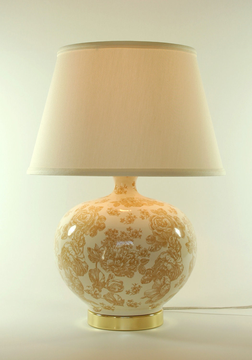 Cream Floral Toile Ceramic Lamp With Ivory Shade