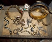 Vintage Snake Reptile Lot (13pc.) Most of the items are designer signed ART Fascinating vintage jewelry collection One ART Poison Ring
