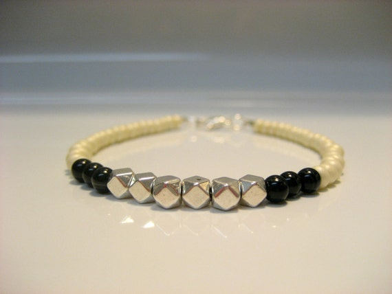 White, Black and Silver Beaded Bracelet- free shipping