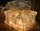 Lighted Glass Block Christmas Gift with Pinecone Bow Night Light Holiday