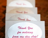"Oval Label/Sticker/Seals ""Thank You For Ordering From My Etsy Shop"" (10 Labels)"