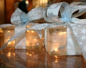 Custom Listing for Tracey (twatson1470) 3 Lighted Glass Blocks Christmas Gift Ribbon Night Light Holiday