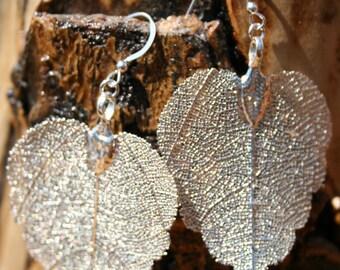 Bright Silver Filagree Heart Leaf Earrings Great Gift Idea