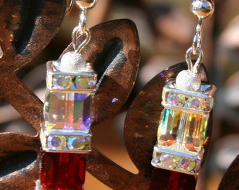 Handmade Swarovski Crystal Cube Siam Red and Crystal AB Earrings Great Gift