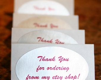 """Oval Label/Sticker/Seals """"Thank You For Ordering From My Etsy Shop"""" (10 Labels)"""