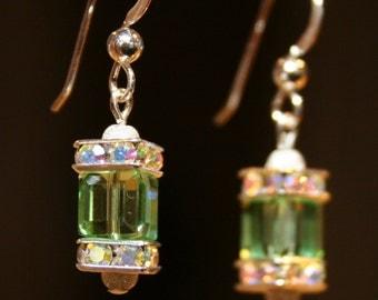 Handmade Swarovski Crystal Cube Peridot Green Earrings August Birthstone Spring Fashion Gift Idea