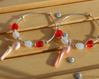 Glass Candy Cane and Fire Polished Silver Plated Hoop Earrings Great Christmas Gift Idea