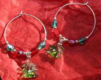 Glass Christmas Tree and Fire Polished Silver Plated Hoop Earrings Great Christmas Gift Idea