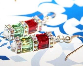 Handmade Swarovski Crystal Cube Siam Red and Peridot Earrings
