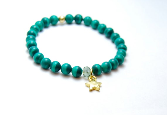 Green Star Bracelet- Gemstone Bracelet, Gold Star