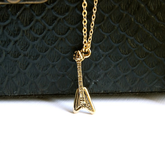 Guitar Necklace, Gold