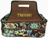 Personalized Insulated Casserole Carrier Double  Brown Floral  Embroidered