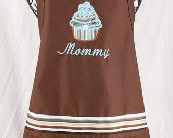 Personalized Cupcake Apron Brown/Aqua Monogrammed Ladies