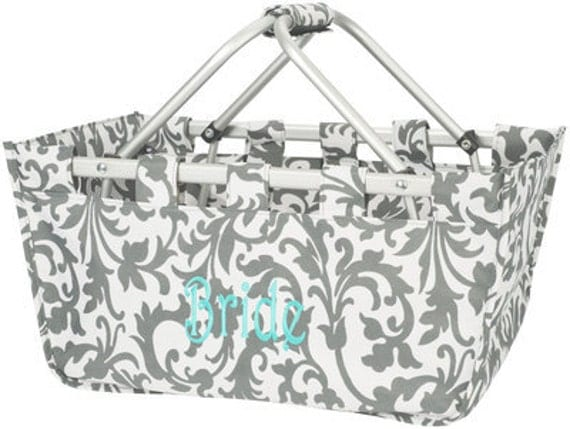 Grey Floral Personalized Market Tote
