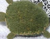Handstitched Green Plush Turtle keychain