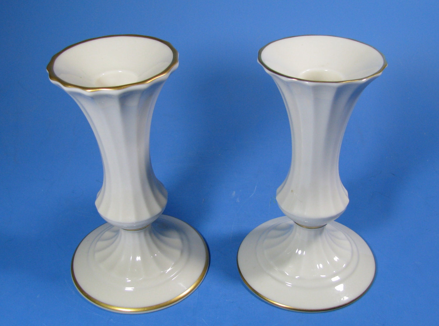 Porcelain ivory lenox candle holders pair perfect