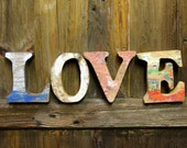 Beach Decor LOVE Sign Vintage Style Nautical Wooden Letters by SEASTYLE