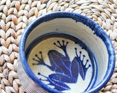Beach Decor Ceramic Bowl  Navy Vintage Nautical by Seastyle